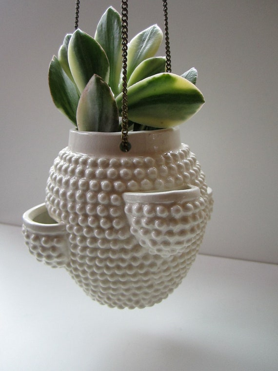 Mid Century Small Ceramic Hanging Planter
