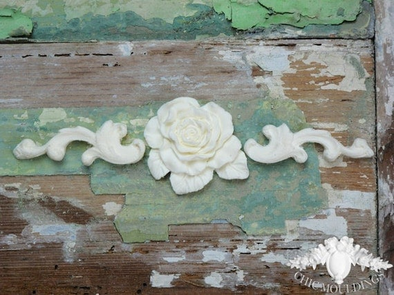Shabby Chic Furniture Mouldings Appliques Small Scrolls With Flat English Rose Embellishment Onlay Trim