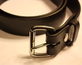 1.5 inch wide Amish made Black Leather Belt with Stainless Steel Snaps and Buckle