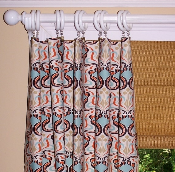 items similar to curtains orange geometric collection two drapery panels 50 x 96 modern blue. Black Bedroom Furniture Sets. Home Design Ideas