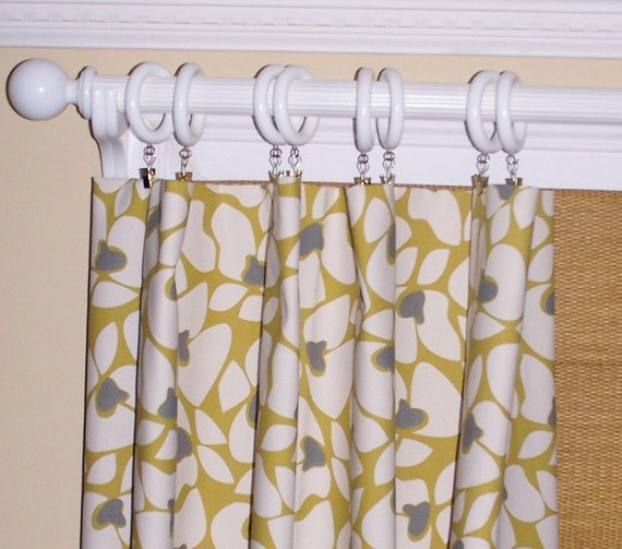 Yellow Curtains Summerland Flowers Grey By Cathyscustompillows