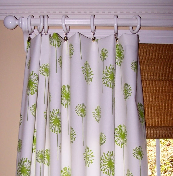 Green Dandelion Curtains Premier Fabric By Cathyscustompillows