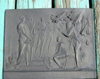 German Vintage Cast Iron Wall Plaque