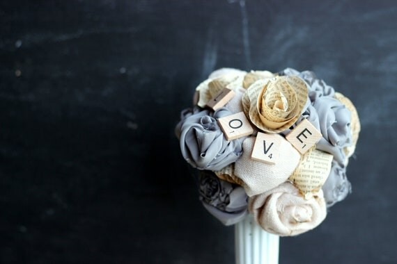 Wedding Bouquet-Bridal-Shabby Chic-Rustic-Gray-Grey-Vintage Book Flowers-Roses-Recycled Materials-Fabric Flowers-Paper Flowers-Unique