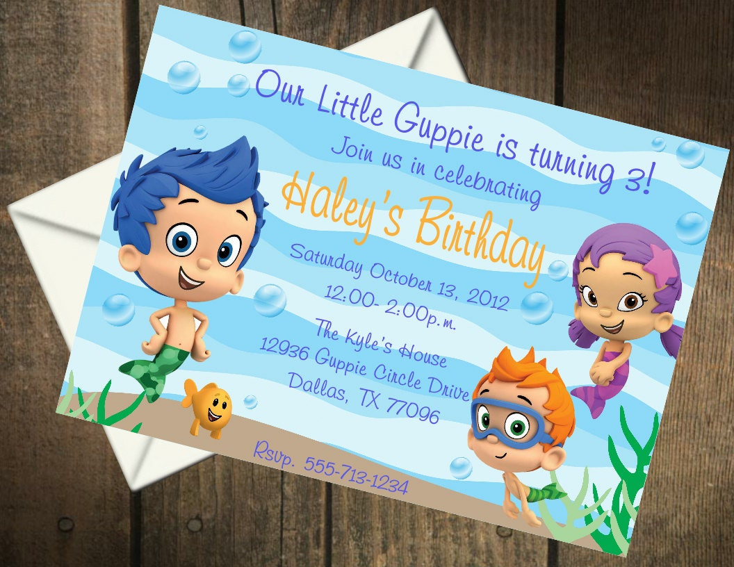 Bubble guppies birthday party printable invitation - Bubble guppies birthday banner template ...