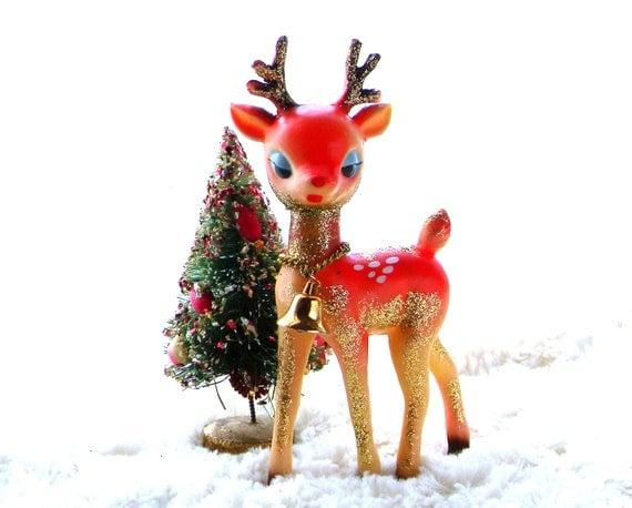 Vintage reindeer images vintage reindeer christmas ornament pink