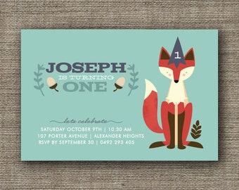 Printable Woodland Fox Invitation for kids birthday party, 1st 2nd 3rd 4th 5th, boy or girl