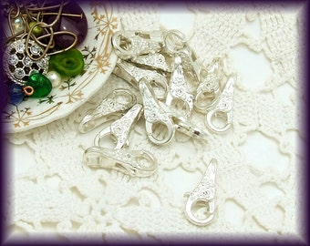 Spring Clasp, Large Floral Silver Tone (2)