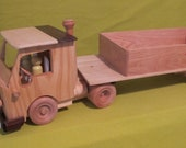 Wooden Handmade Trailer Truck - All Natural Cab and Trailer - Non-toxic Paint & Water Base Finish