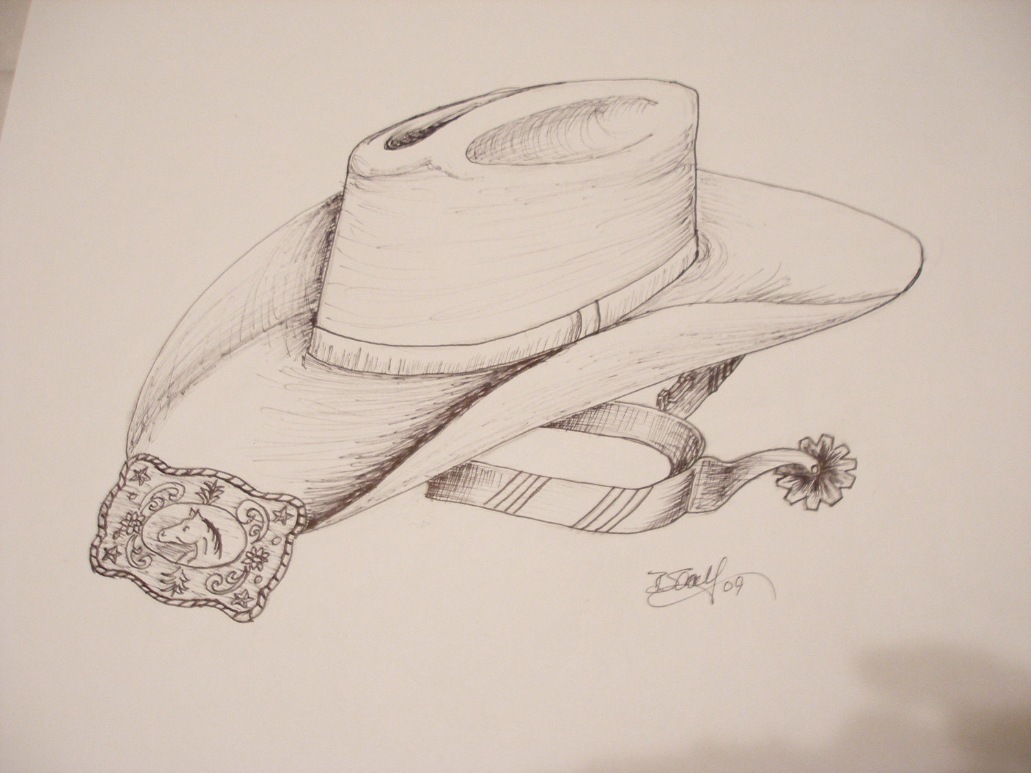Print Of Pin And Ink Drawing Of Cowboy Hat And Accesories