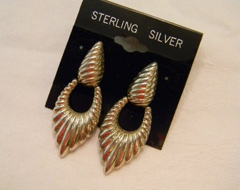 "Timeless Classic Fashion 925 Sterling Silver Swinging With Lines In Them Post Earrings 2"" Long Marked N.D. 925 #139"