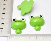 10 pcs RE209 green frog head flatback resin accessories jewelry supplies about 30MM