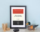 """Book Clubs: """"Man Utd"""" A4 Football Print in red, white and black."""