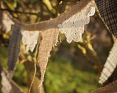 Rustic Vintage Wedding Party Bunting - Burlap, Tweed and Lace
