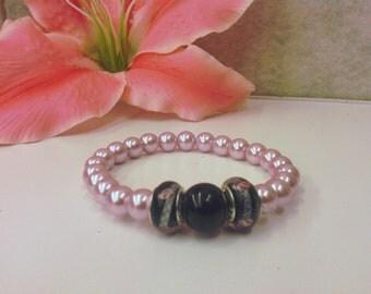 pink pearl flower bracelet