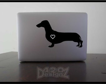 Dachshund  - Macbook Air, Macbook Pro,  Macbook decals, sticker Vinyl Mac decals Apple Mac Decal, Laptop, iPad