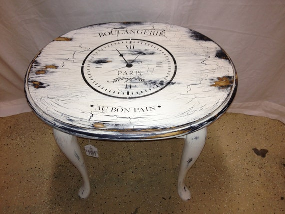 Side Table Paris Shabby Chic Clock Table