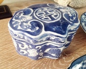 Double Happiness Chinoiserie Blue White Box