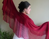 RED RUFFLED SHAWL, Silky and Featherlight  / 722