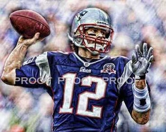 Rare Tom Brady New England Patriots Art Prt sn only 50