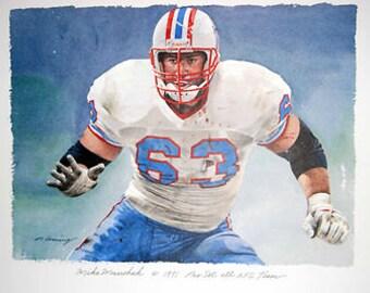 Mike Munshak Houston Oilers Rare HOF Print
