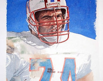 Bruce Matthews Houston Oilers Rare Art