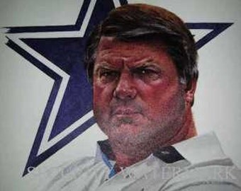 Dallas Cowboys Jimmy Johnson Rare Corning Print LE