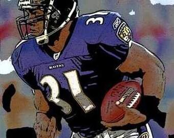 Rare Jamal Lewis Baltimore Ravens Art Lithograph
