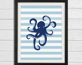 Otopus Art Print - Navy Blue Nursery Chldren Room - Beach Wall Art Home Decor 8x10