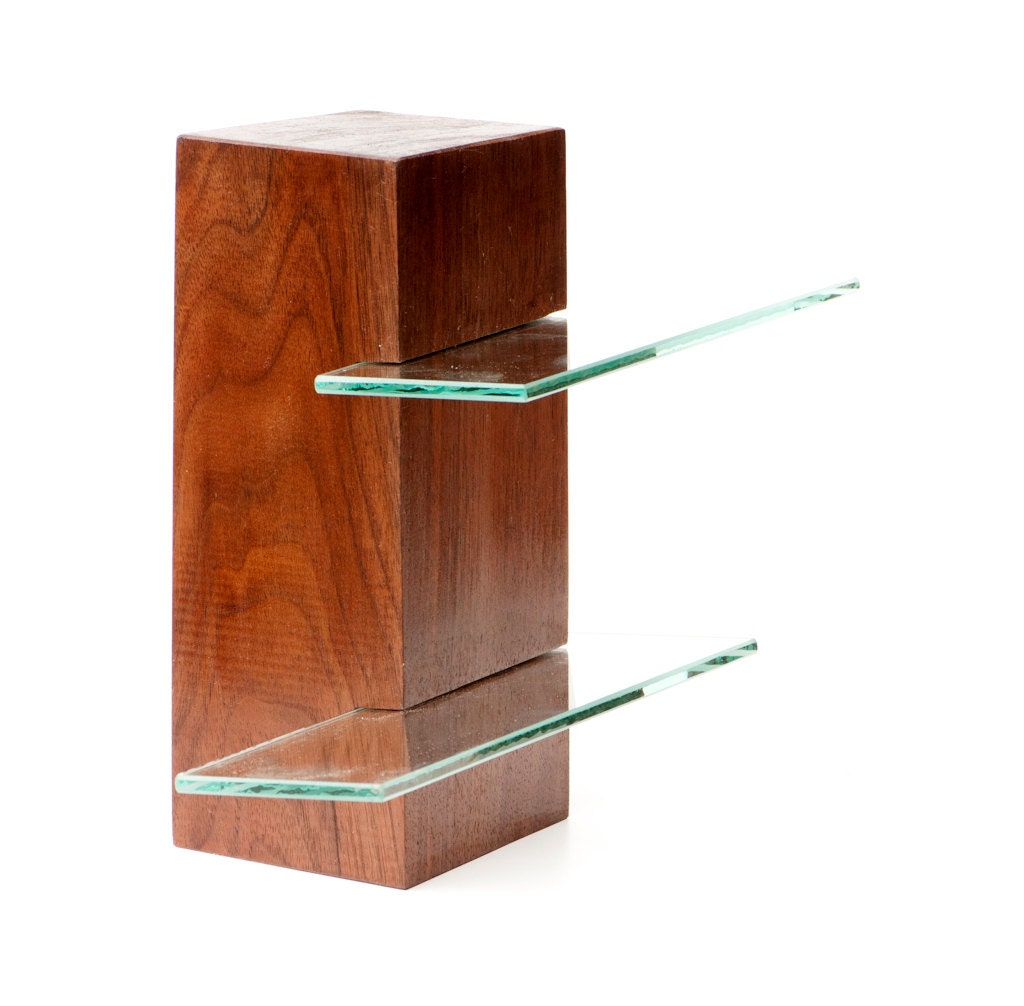 Walnut Free Standing Shelving Unit With Two Glass Shelves Low