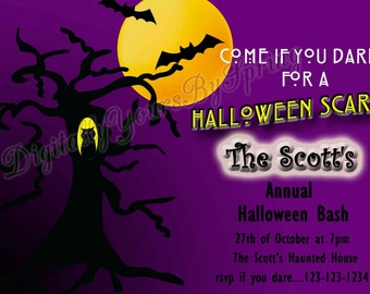 Printable Halloween Party Invitation - You Print DIGITAL FILE
