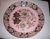 Spode Archive Collection Jasmine Pink/brown  rimmed plate Free shipping