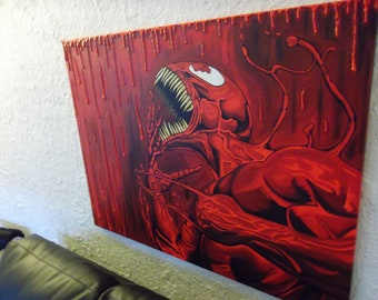 """Large Acrylic Carnage Painting 30"""" x 40"""""""