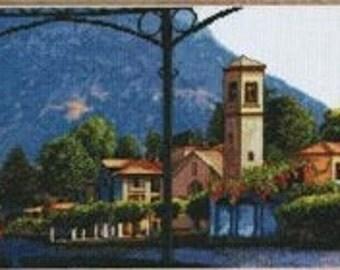 Leisure Arts Blue Mediterranean Villa Counted Cross Stitch Pattern Charted Design Needlework Chart