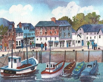 Watercolour Print, Padstow Harbour, Cornwall, England, Father's Day Gift Idea, Art And Collectibles