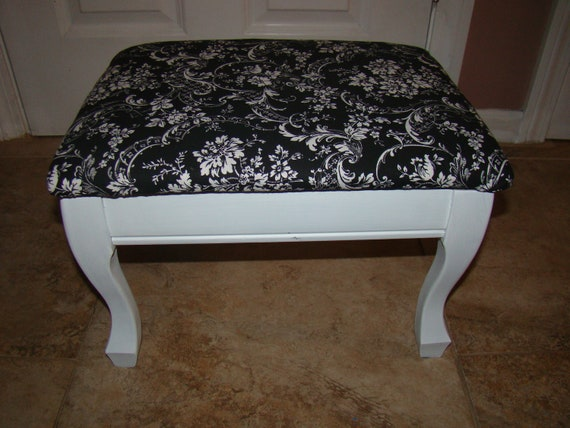 RESERVED: Antique Vintage Heated Foot Stool, Black and White, chic