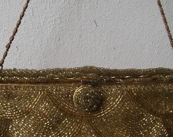 SALE Vintage 1920s Deco Golden Beaded Chain Evening Purse