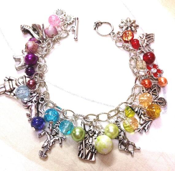 Wizard of oz rainbow beaded charm bracelet by treasuresbykl
