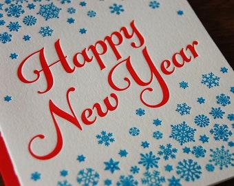 Happy New Year Letterpress Greeting Card