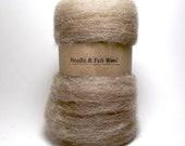 Natural light brown felt wool, shetland wool batts, wool batts, wool for needle felting, neutral, fall colors 1 oz