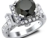 3.40ct Black Round Diamond Engagement Ring 14k White Gold
