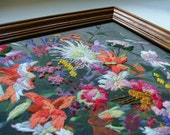Crewel Embroidery Wall Art - Framed Floral