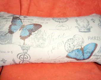 Premier Prints French Stamp Pillow Cover, Blue Butterflies, Eiffel Tower, 12x22 Lumbar Pillow Cover - French Country