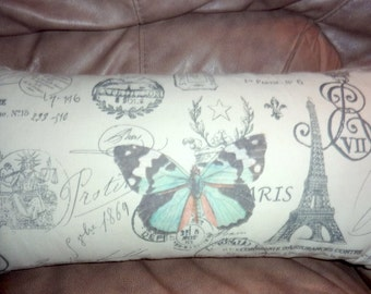 Premier Prints French Stamp Pillow Cover -  Butterfly Pillow cover - Eiffel Tower - Lumbar pillow 12x22  - Paris Pillow - French country