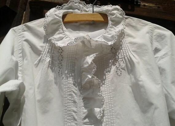 Blouse-Shirt Handmade Cotton White Antique 1900s French Monogram Ruffle Cutout Lace Pliers Front Long  Sleeved Women Wedding Shirt Medium