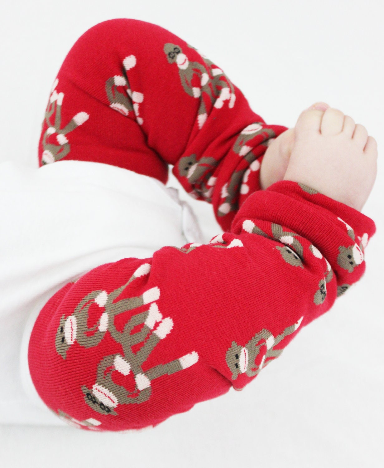 Sock Monkey Baby Leg Warmers Red with Brown and White by