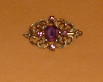 Faux Amethyst Scroll Goldtone Metal Pin or Brooch 1960's Jewelry Mardi Gras February Birthstone