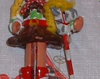 Christmas Ornament Lonestar Texas Cowgirl with Hobby Horse clothes pin type style ornament Nashville TV show