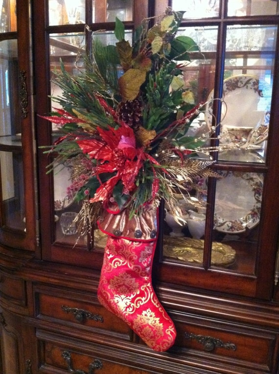 Items similar to christmas stocking door hanging holiday for California floral and home christmas decorations
