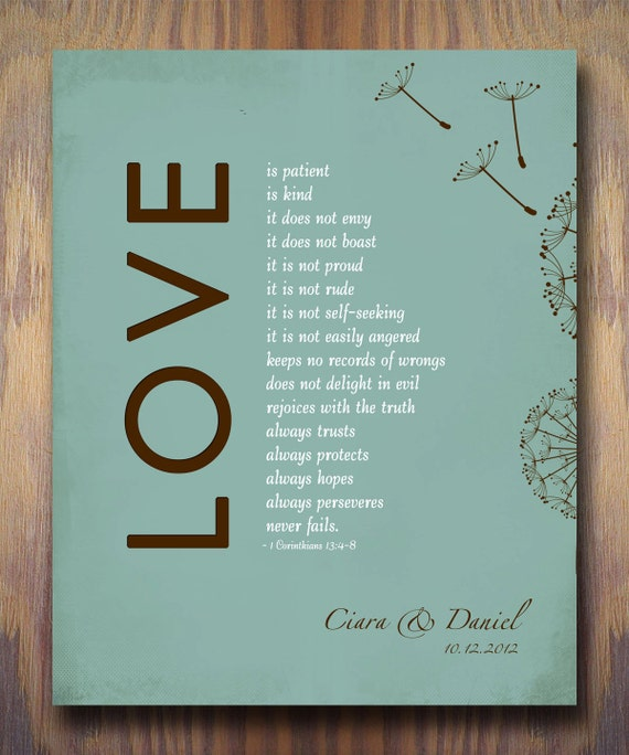 1 Corinthians 13 Love Is Patient Personalized Wedding Gift